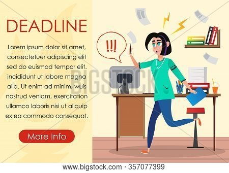 Woman Jogging Office With Phone And Tablet Design Studio. Office Interior. Creative Designer. Vector