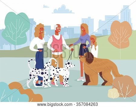Smiling Friends Meeting In City Park On Walk With Pets Cartoon. Happy Old Man With Adult Daughter An