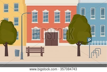 City Street With Houses Facades. Urban Landscape. City Buildings Along Wide Street With Trees, Bench