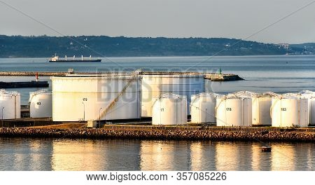 Oil Storage Tanks In The Port Of Le Havre In Normandy (france)
