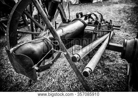 Old War Cannon, Detail Of Firearm, War