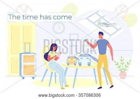Happy Smiling Woman And Man In Attic Room Preparing To Trip. Female And Male Character Packing Cloth