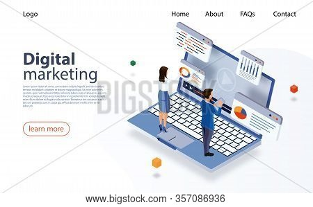 Landing Page Concept Marketing Strategy For Website. Digital Marketing, Digital Technologies Concept