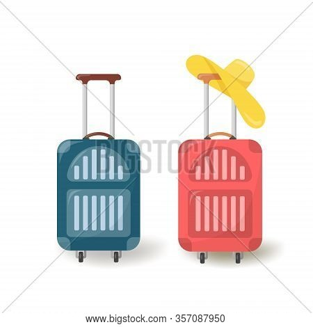 Suitcases On Wheels In Flat Style. Set Of Two Closed Suitcases In Red And Blue.time To Travel. Women