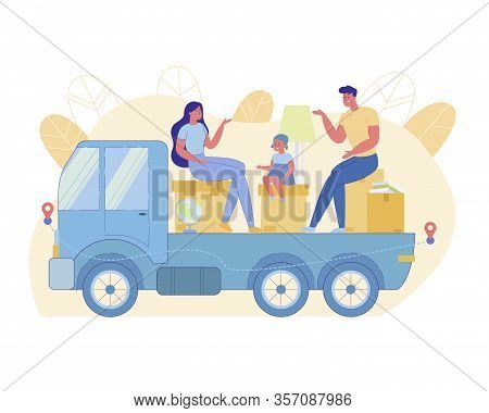 Young Family Sits On Boxes On Truck Platform. Parents And Little Daughter Have Fun Talking While Tra