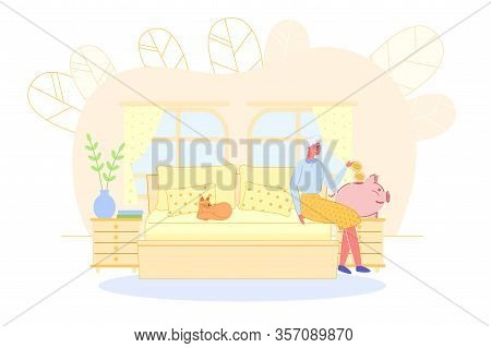 Mature Old Lady Putting Gold Coins Into Piggy-bank. Grandmother Sitting On Bed In Home Bedroom. Pens
