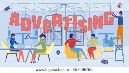 Advertising Industry Experts Word Concept Banner. Adverts Creation Specialists, Marketing Experts, P