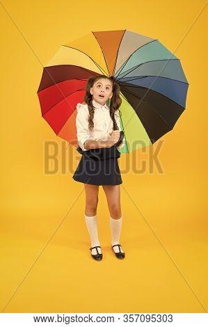 On Way To School. Fashion Accessory. Rainy September. Accessory For Rainy Day. Fancy Schoolgirl. Gir