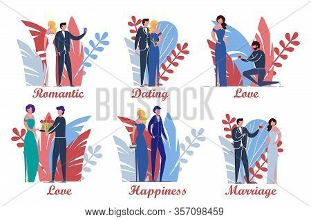 Loving Couples In Various Dating And Love Affairs Actions Set. Man And Woman Cartoon Characters On T