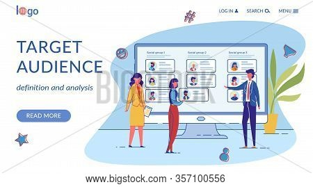 Target Audience Flat Vector Landing Page Template. Corporate Staff Personal Profiles With Avatars On