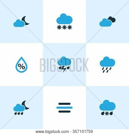 Air Icons Colored Set With Night, Overcast, Rainstorm And Other Moonshine Elements. Isolated Illustr
