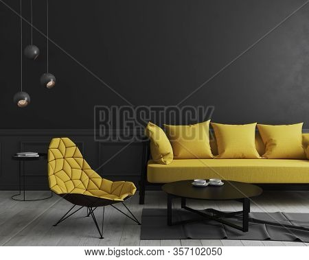 Modern Room Interior Background With Black Wall And Stylish Yellow Sofa And Design Armchair Near Cof