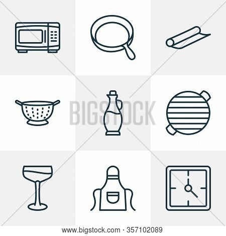 Culinary Icons Line Style Set With Apron, Bbq, Skillet And Other Electric Oven Elements. Isolated Ve