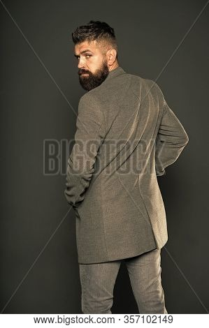 Smart And Versatile. Hipster Grey Background. Bearded Man In Trendy Hipster Style. Busnessman With H