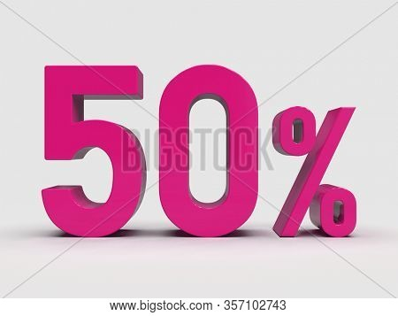 3d Render: Pink 50% Percent Discount 3d Sign on Light Background, Special Offer 50% Discount Tag, Sale Up to 50 Percent Off, Fifty Percent Letters Sale Symbol, Special Offer Label, Sticker, Tag