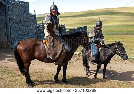 Ulan Bator, Mongolia - August 25, 2016: Horsemen Are Greeting Visitors At The Entrance Of The Mongol