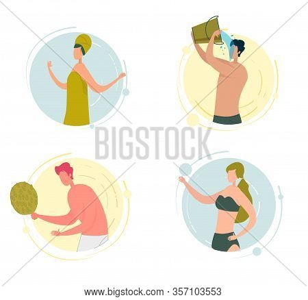 Woman And Man Character Having Aqua Procedure. People Having Rest In Hot Bath Or Steam House, Girl I