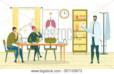 People Sitting At Table With Inhaler Compressor Nebulizer. Medical Aerosol With Mask, Treatment From