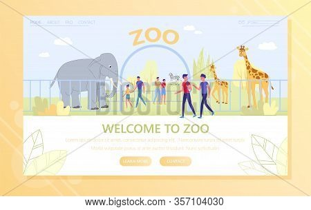 Entrance To Zoo, Group People Examines Animals. Teenagers Go Down Street Past Zoo And Decide To Go I