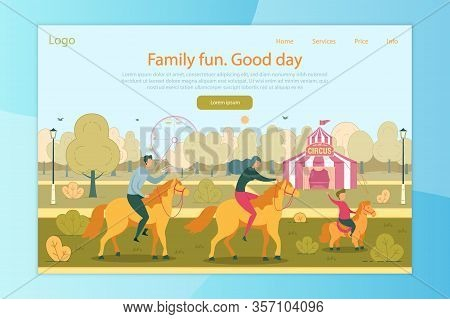 Family Fun, Rest And Active Recreation, Spending Good Day Together In Amusement Park Landing Page De