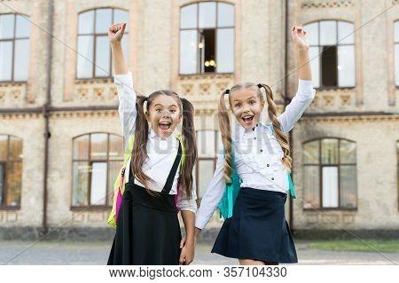 Celebrate Last Day Of School Year. Happy Children Celebrate Outdoors. Celebrate School Holidays. Sma