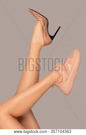 Female Legs With Different Shoes.