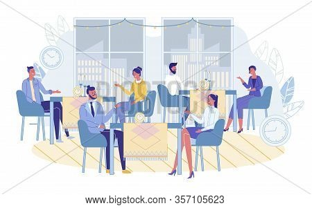 Men And Women Communicating On Speed Dating At Cafe. Couples Sitting At Tables With Clock Alarm Time