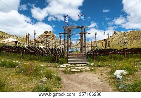 Mongolia National Park 13th Century In Ulaanbaatar Built As A  Whole Village In The Style Of The 13t