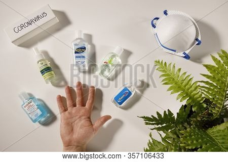 Gold Coast, Australia - March 13, 2020: Coronavirus Hand Sanitization Health Hygiene Concept, Corona