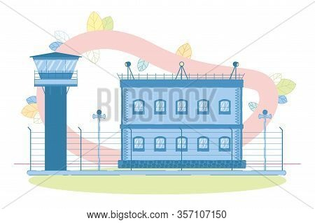 Jail Building Exterior With Watchtowel For Observation, Stand Speaker, Light Projector On Roof And S