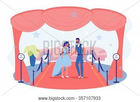 Celebrity Couple Going Public, Making Their Big Red Carpet Debut. Brunette With Loose Hair Wearing B