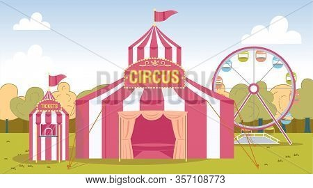 Carnival Red White Striped Circus Performance Tent And Ticket Cashier Kiosk Booth In Amusement Park.
