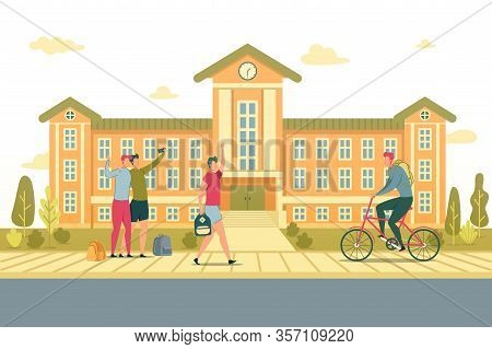 Students Walking On University Or College Background Flat Cartoon Vector Illustration. Two Friends T