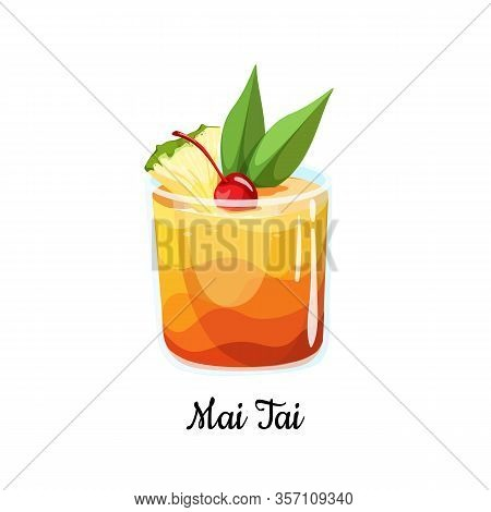 Cocktail Mai Tai In Cartoon Style. Polynesian-style Drink Popular Tiki Cocktail With A Slice Of Pine
