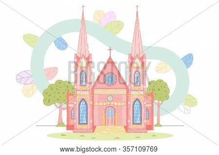 Beautiful Old Catholic Church. Gothic Architecture Building. View On Religion Cathedral Or Temple Wi