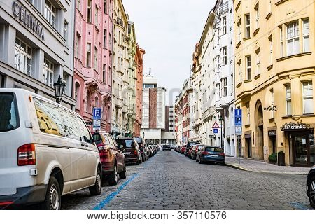 Prague, Czech Republic - March 19, 2020. Empty Street Around Hotel Intercontinental During Coronavir