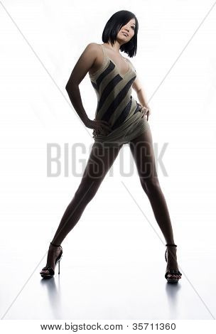The Woman With An Ideal Figure On White Isolated A Background