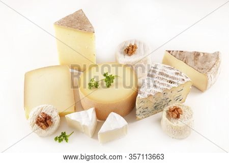 selection of french cheese- assorted of cheese isolated on white background