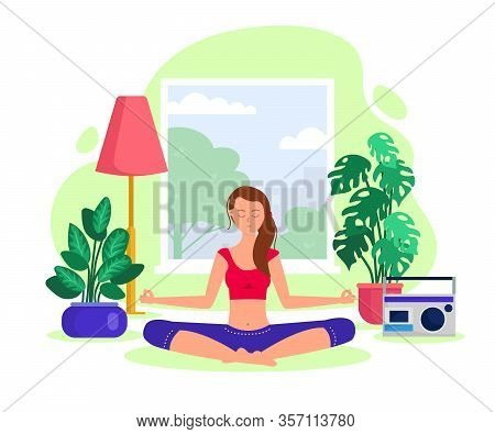 Active Girl In Yoga And Meditation Flat Vector Illustration. Meditating Woman In The Lotus Position