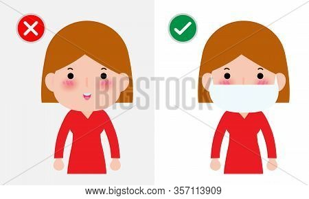 Coronavirus 2019-ncov Or Covid-19 Disease Prevention Concept, Women With Wearing Face Mask And Witho