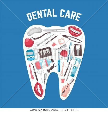 Dental Care And Dentistry With Tooth Brushes, Paste, Mouth, X-ray In Shape Of Tooth Vector Illustrat