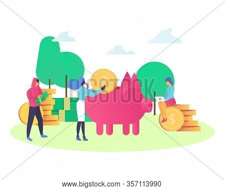 Finance And Bank Saving Money Concept With Mini People Customers Bring Money To Pig Money Box Isolat