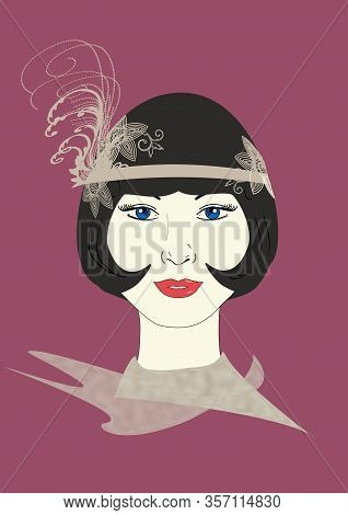 A Graphic Illustration Of A 1920s Flapper In An Ornate Grey Headpiece.