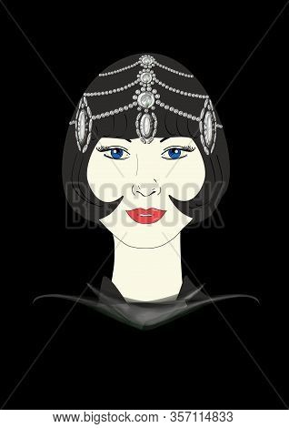 A Graphic Illustration Of A 1920s Flapper In An Ornate Jeweled Headpiece.