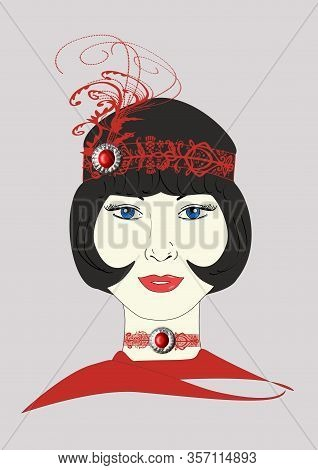 A Graphic Illustration Of A 1920s Flapper In An Ornate Red Headpiece.