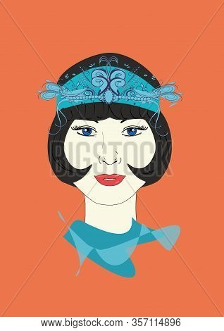 A Graphic Illustration Of A 1920s Flapper In An Ornate Turquoise Headpiece.