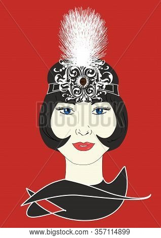 A Graphic Illustration Of A 1920s Flapper In An Ornate White Headpiece.