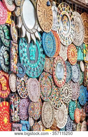 Intricate Mexican Mayan Culture Souvenirs On Display Along Popular 5th Avenue On Playa Del Carmen In