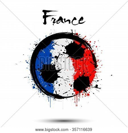 Abstract Soccer Ball Painted In The Colors Of The France Flag. Flag Of France In The Form Of A Socce