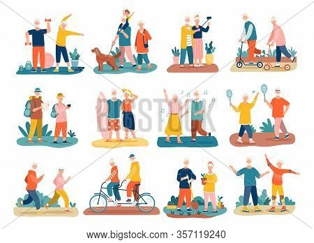 Active Seniors Concept With Colorful Icons Of Elderly People And Couples Exercising, Jogging, Hiking